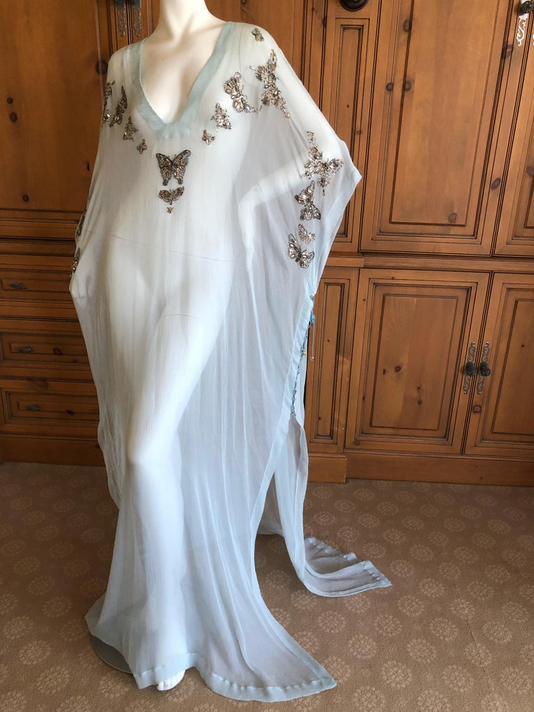 Gray Emilio Pucci Sheer Long Silk Chiffon Caftan w Embellished Butterfly Details New For Sale