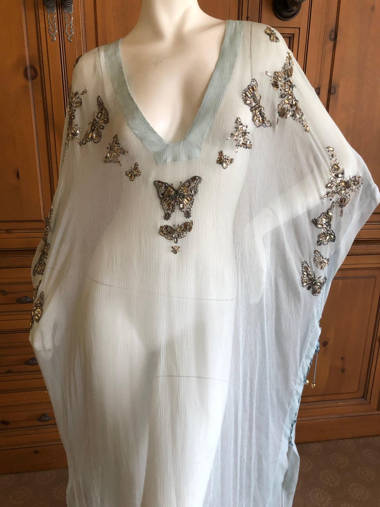 Women's or Men's Emilio Pucci Sheer Long Silk Chiffon Caftan w Embellished Butterfly Details New For Sale