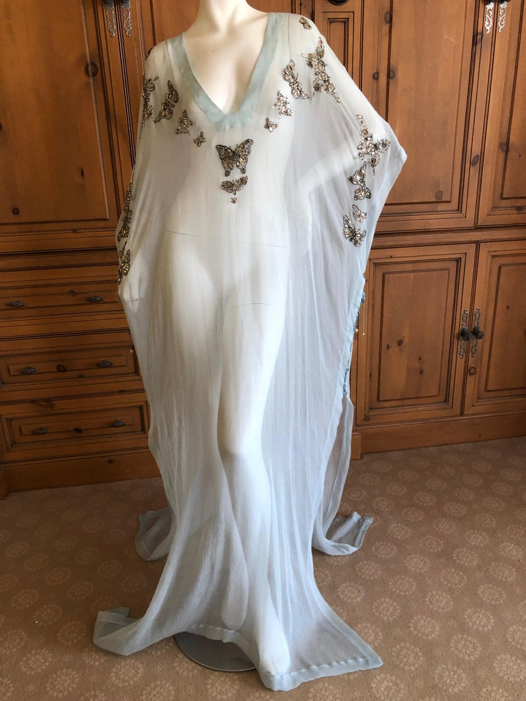 Emilio Pucci Sheer Long Silk Chiffon Caftan w Embellished Butterfly Details New For Sale 4