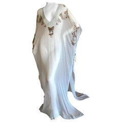 Emilio Pucci Sheer Long Silk Chiffon Caftan w Embellished Butterfly Details New