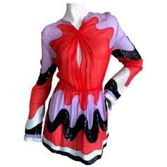 Emilio Pucci Sheer Silk Op Art Sequin Accented Mini Dress