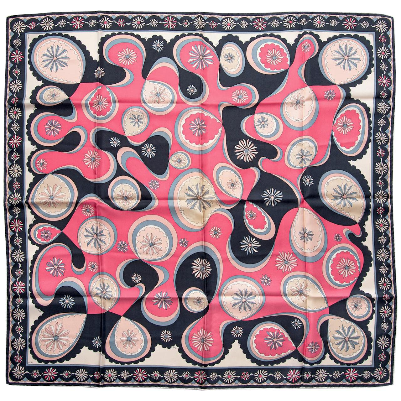 EMILIO PUCCI Signature Floral Print Pink & Black Silk Twill Scarf, early 1970s
