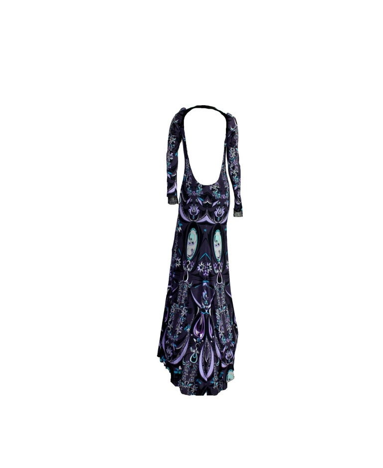 Black Emilio Pucci Signature Print Evening Maxi Dress Gown For Sale