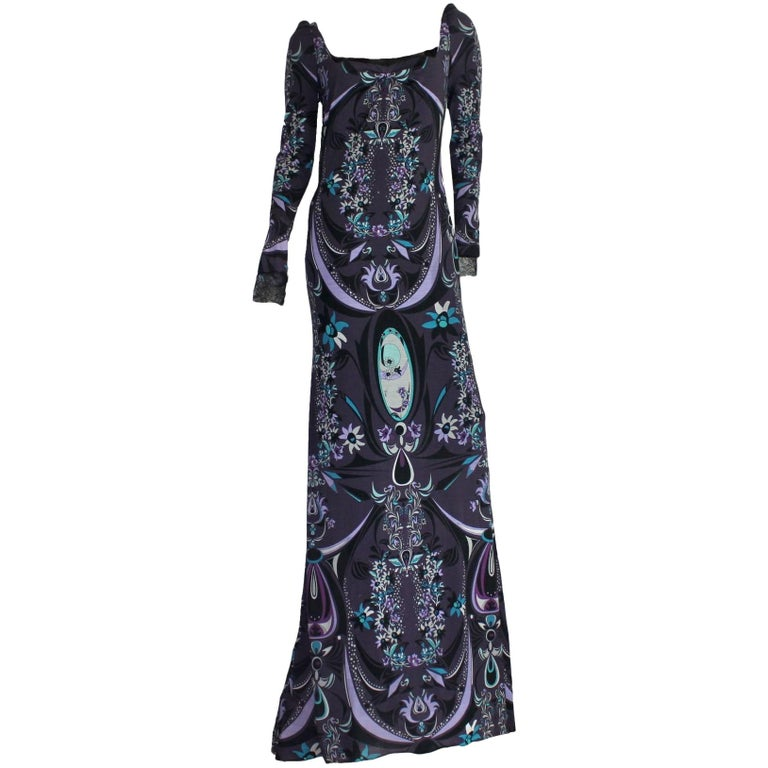 Emilio Pucci Signature Print Evening Maxi Dress Gown For Sale