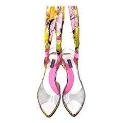 EMILIO PUCCI Signature Print Logo Lace Up Wedges High Heels Sandals