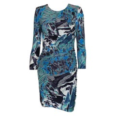 Emilio Pucci Signature Print Ruched Silk Jersey Bodycon Dress