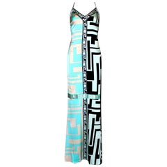 Emilio Pucci Signature Print Silk Evening Gown Maxi Dress
