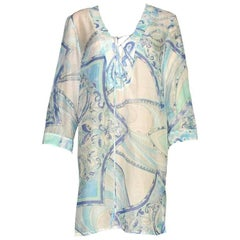 Emilio Pucci Signature Print Silk Voile Kaftan Tunic Dress