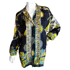 Emilio Pucci Silk Bead and Crystal Embellished Blouse Large Unisex