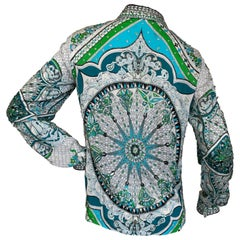 "Emilio Pucci Silk Bead and Crystal Embellished ""Stain Glass Window"" Blouse"