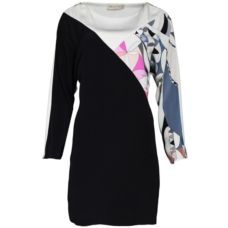 Emilio Pucci Silk Black, White & Print Dolman Sleeve Dress Sz 4