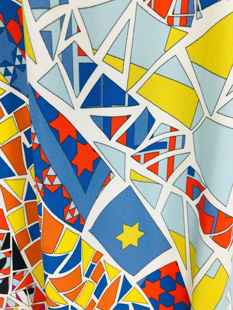 Emilio Pucci Silk Blend Jersey Sleeveless Star Print Shift Dress 42 For Sale 5