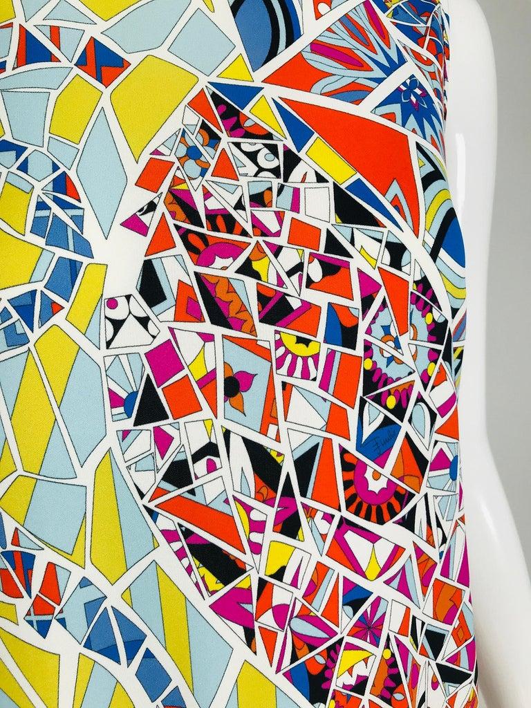 Emilio Pucci Silk Blend Jersey Sleeveless Star Print Shift Dress 42 For Sale 6