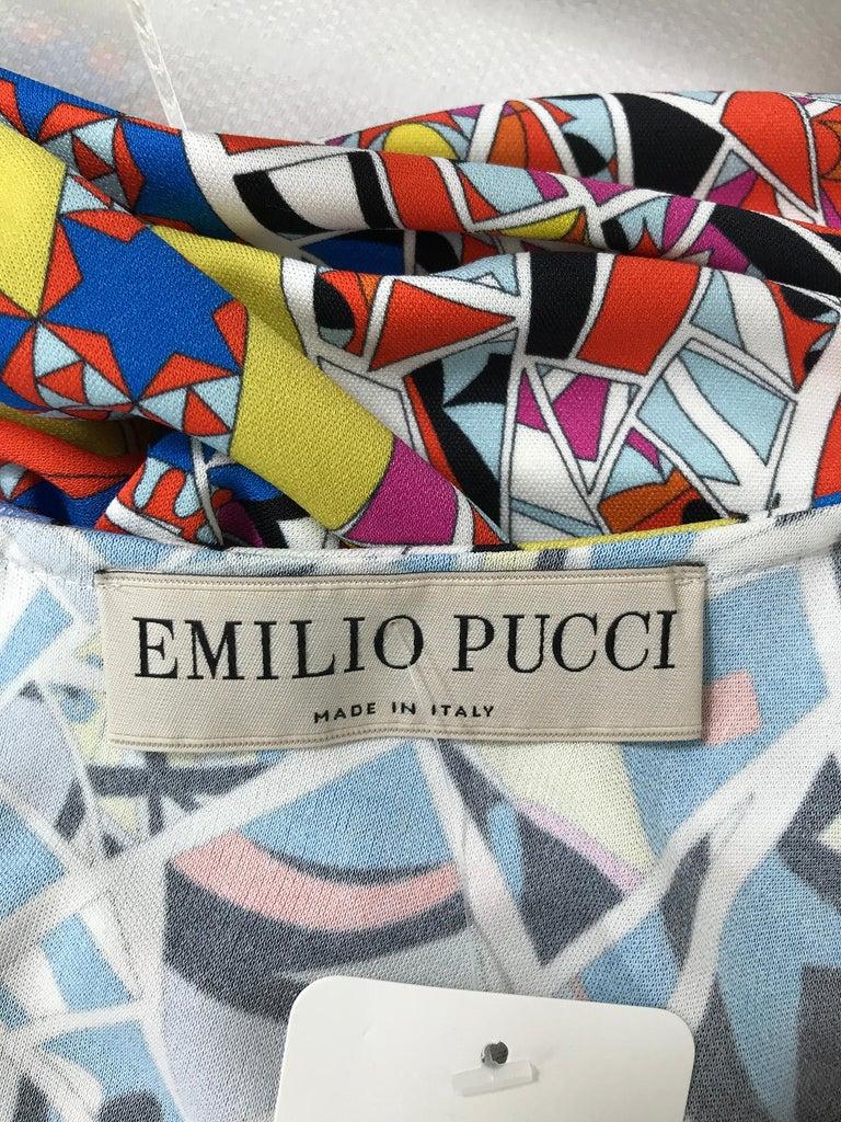 Emilio Pucci Silk Blend Jersey Sleeveless Star Print Shift Dress 42 For Sale 7