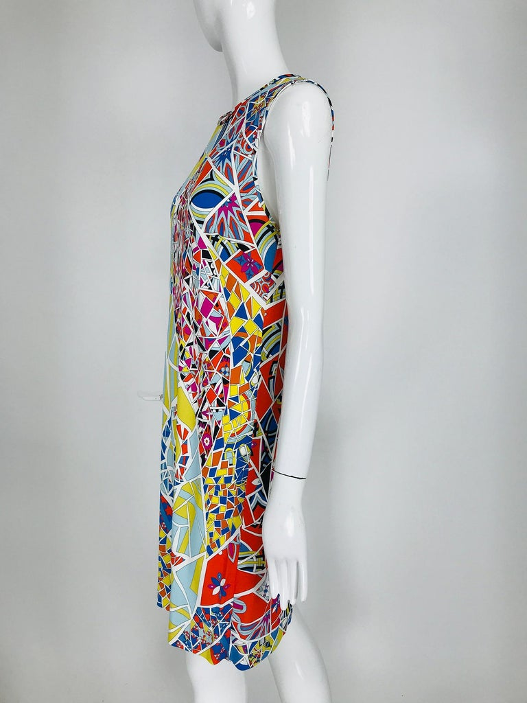 Beige Emilio Pucci Silk Blend Jersey Sleeveless Star Print Shift Dress 42 For Sale
