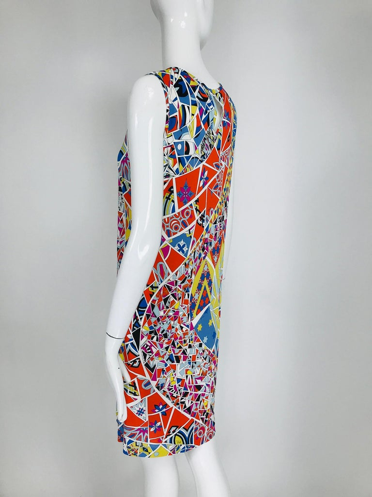 Emilio Pucci Silk Blend Jersey Sleeveless Star Print Shift Dress 42 In Excellent Condition For Sale In West Palm Beach, FL