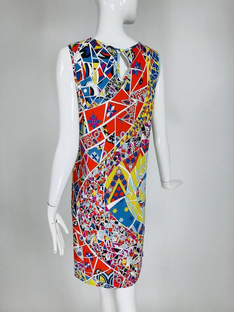 Women's Emilio Pucci Silk Blend Jersey Sleeveless Star Print Shift Dress 42 For Sale