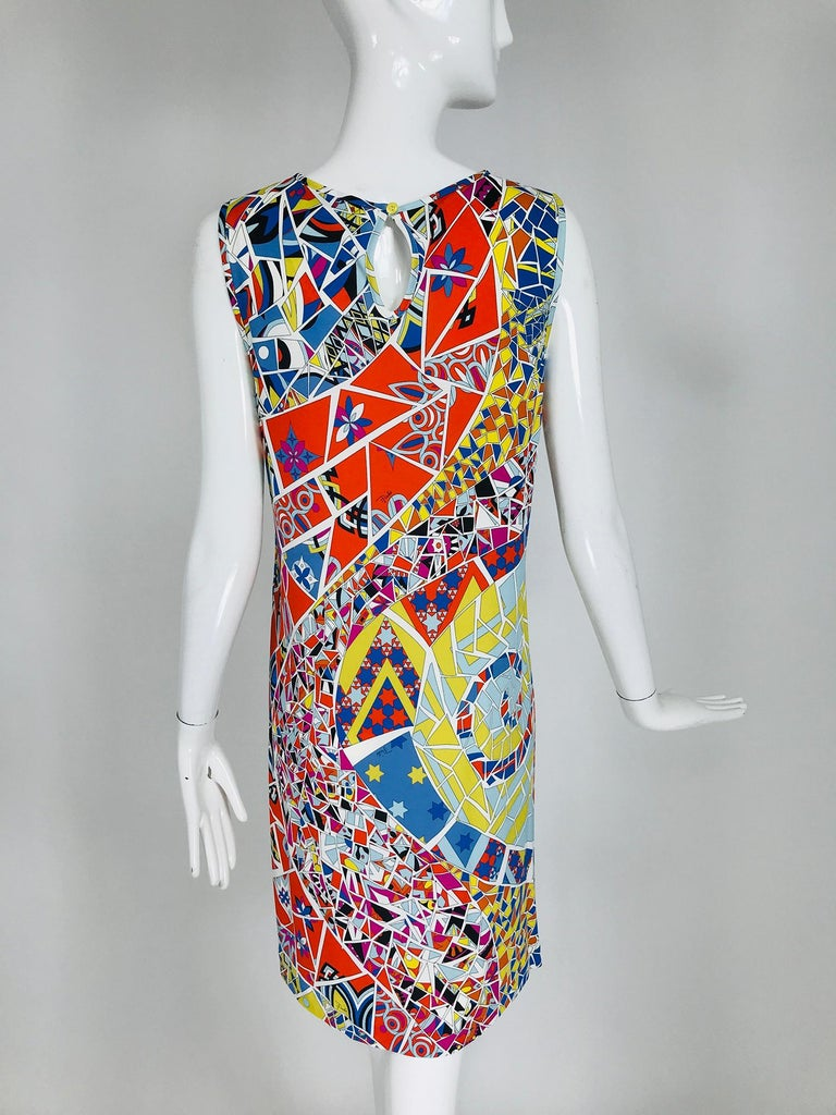Emilio Pucci Silk Blend Jersey Sleeveless Star Print Shift Dress 42 For Sale 1