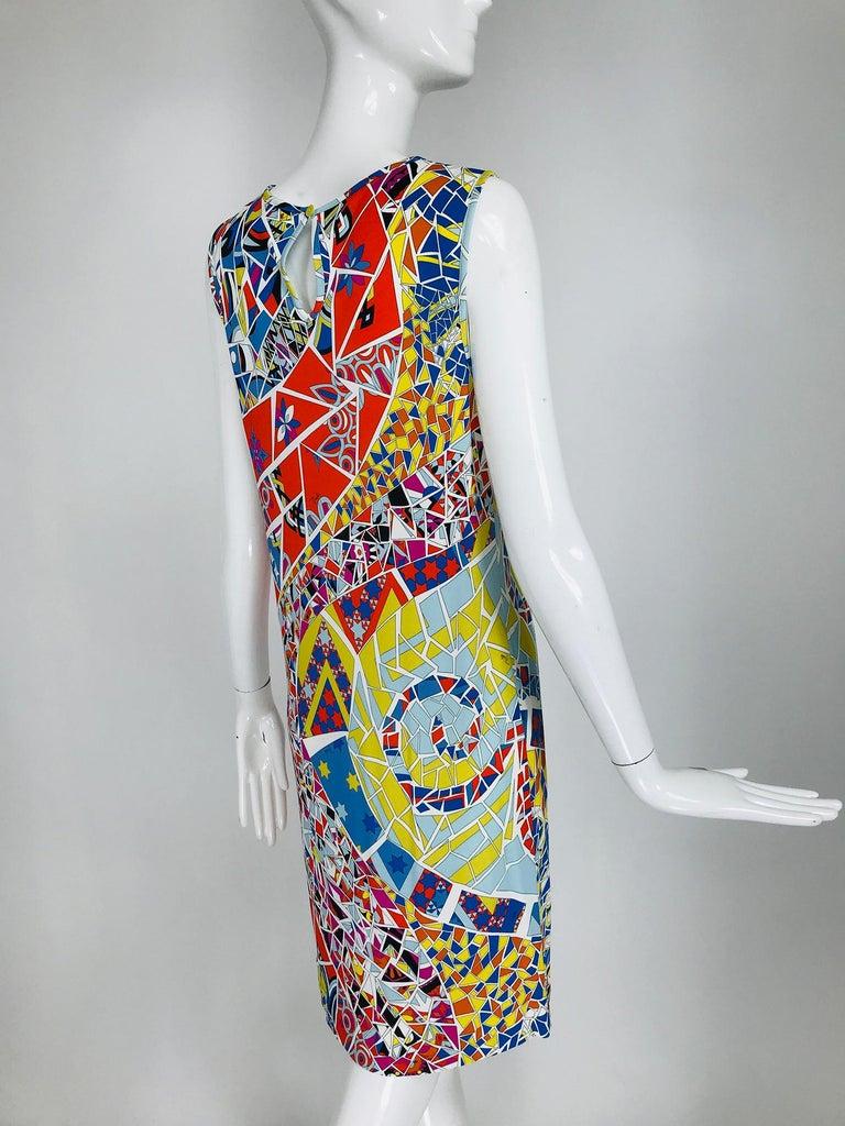 Emilio Pucci Silk Blend Jersey Sleeveless Star Print Shift Dress 42 For Sale 2