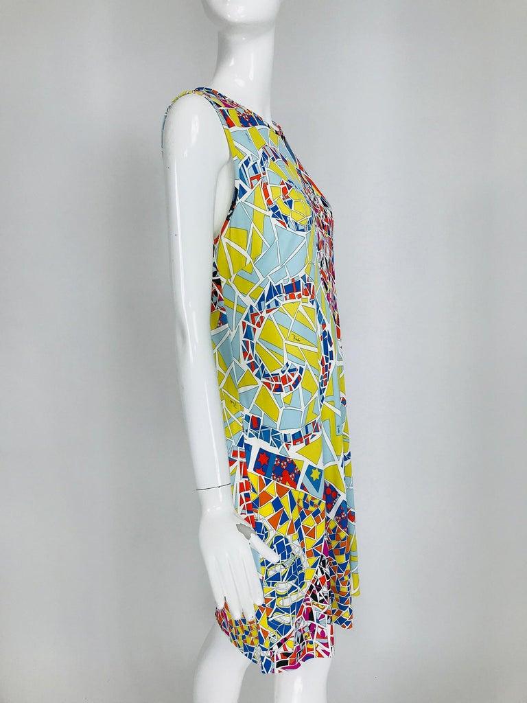 Emilio Pucci Silk Blend Jersey Sleeveless Star Print Shift Dress 42 For Sale 3
