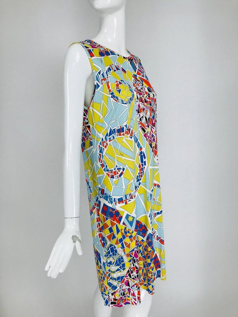 Emilio Pucci Silk Blend Jersey Sleeveless Star Print Shift Dress 42 For Sale 4