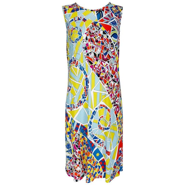 Emilio Pucci Silk Blend Jersey Sleeveless Star Print Shift Dress 42 For Sale