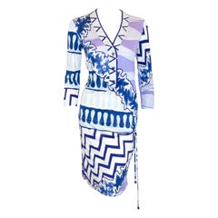 Emilio  Pucci Silk Blue, Lavender & White Blouson Style Dress With Drawstring