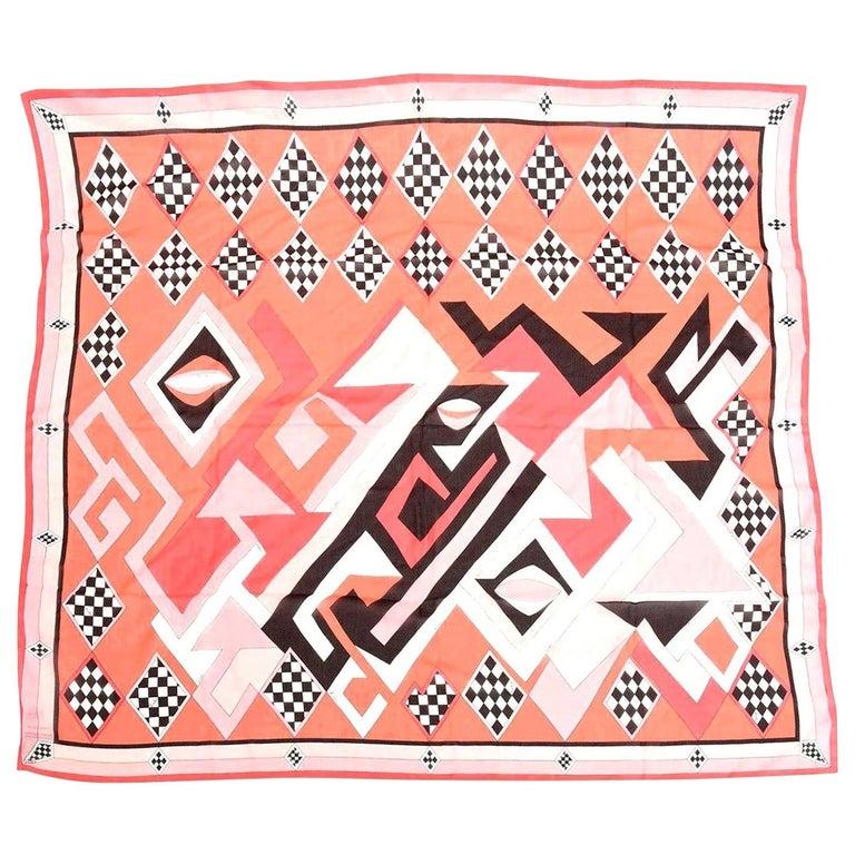 Emilio Pucci Silk Chiffon Geometric Square Scarf Vintage For Sale