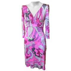 Emilio Pucci Silk Floral Print Dress with Low Back (44 ITL)