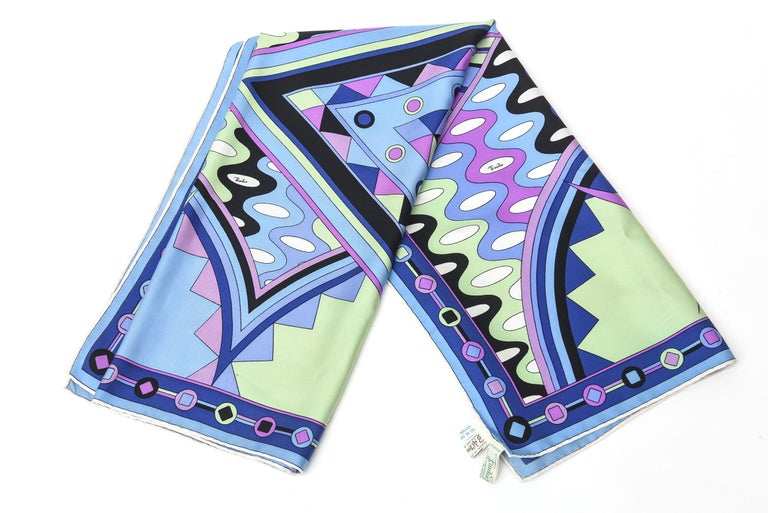 Purple Emilio Pucci Blue, Pink and Sage Green Silk Geometric Scarf Vintage