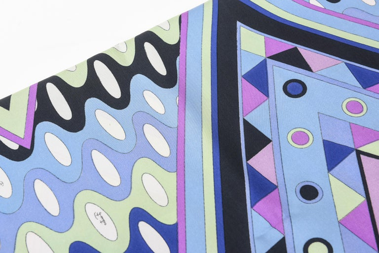 Emilio Pucci Blue, Pink and Sage Green Silk Geometric Scarf Vintage In Good Condition In North Miami, FL