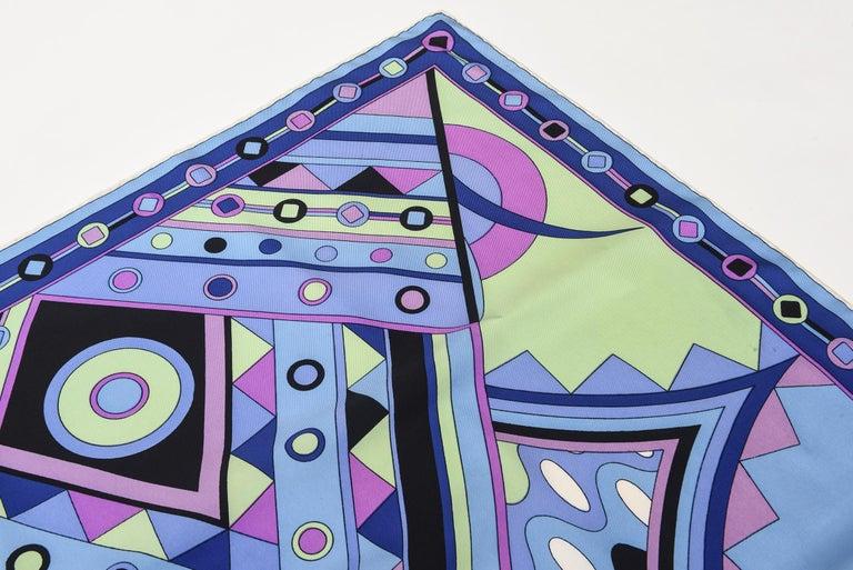 Emilio Pucci Blue, Pink and Sage Green Silk Geometric Scarf Vintage 1