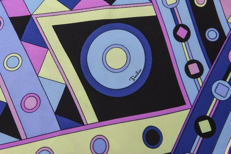 Emilio Pucci Blue, Pink and Sage Green Silk Geometric Scarf Vintage 2