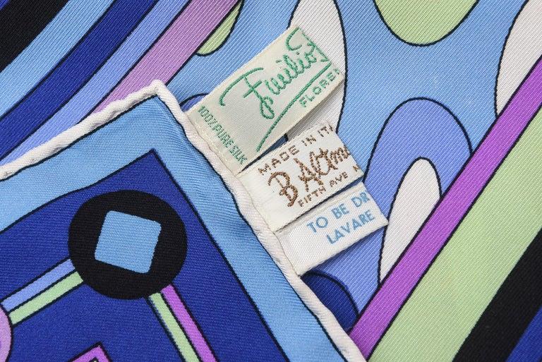 Emilio Pucci Blue, Pink and Sage Green Silk Geometric Scarf Vintage 3