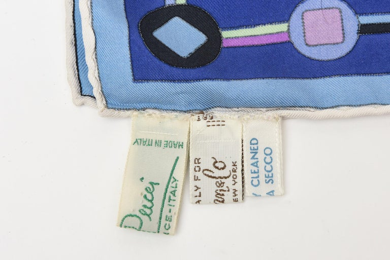 Emilio Pucci Blue, Pink and Sage Green Silk Geometric Scarf Vintage 4