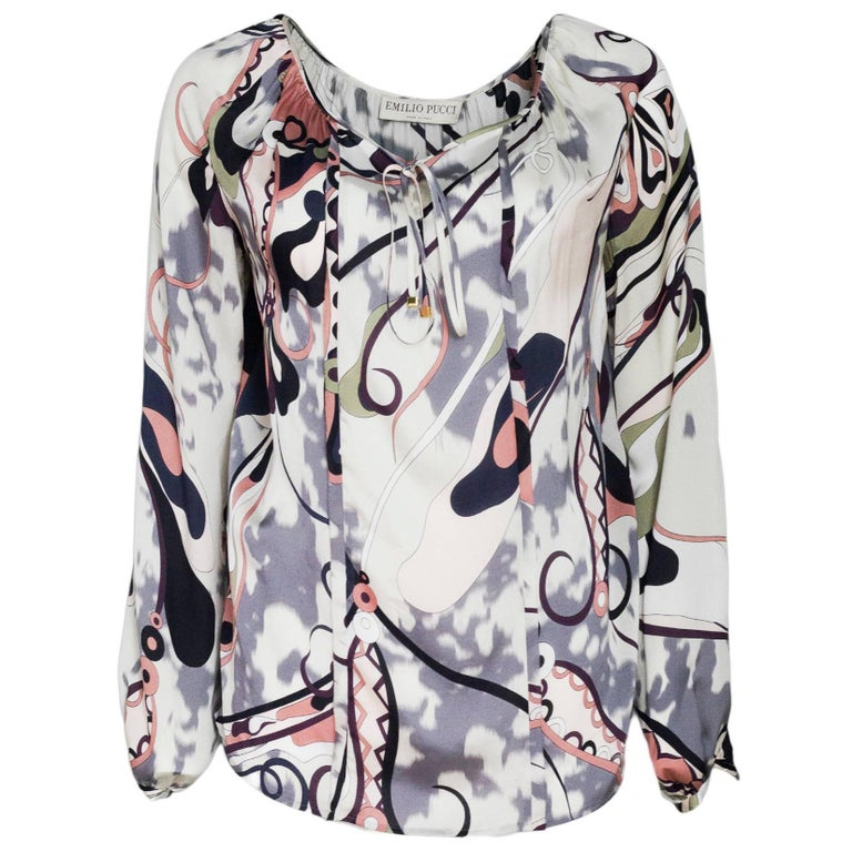 a6156380c2c Emilio Pucci Silk Grey, Pink and Black Print Blouse Sz 4 For Sale at ...