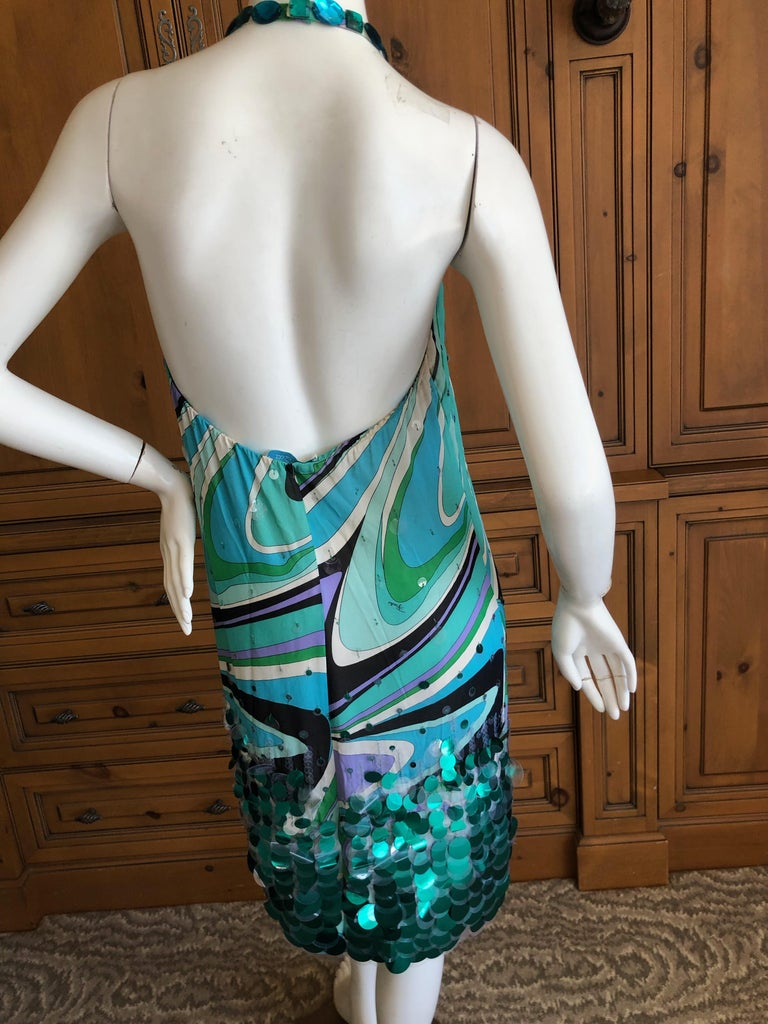 Emilio Pucci Silk Halter Cocktail Dress with Fish Scale Sequin Details For Sale 1