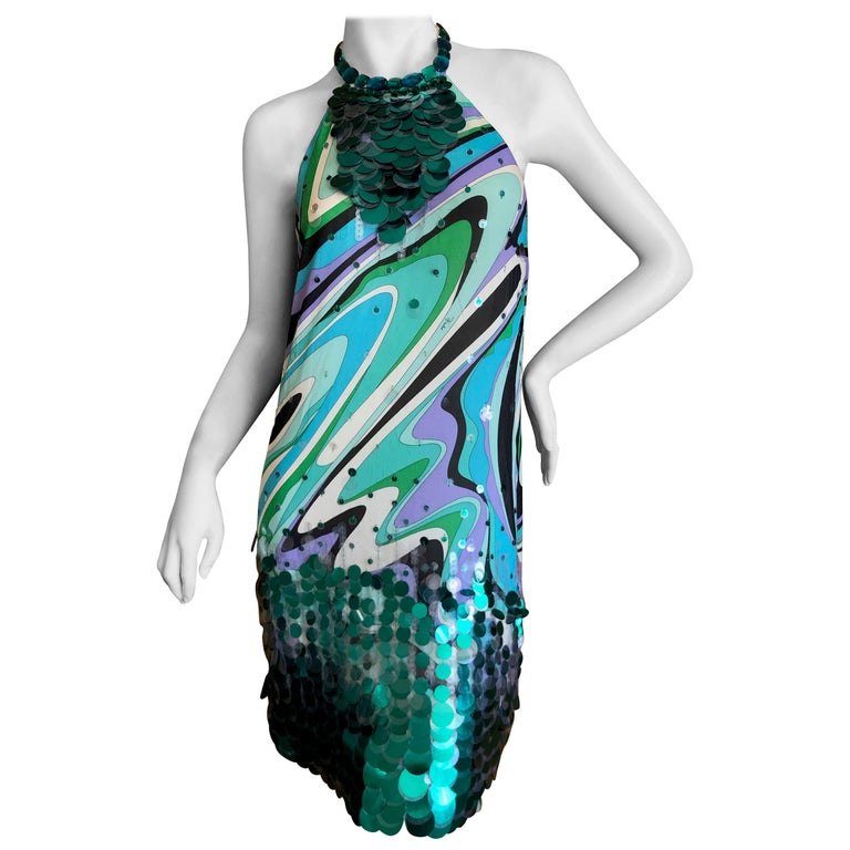 Emilio Pucci Silk Halter Cocktail Dress with Fish Scale Sequin Details For Sale