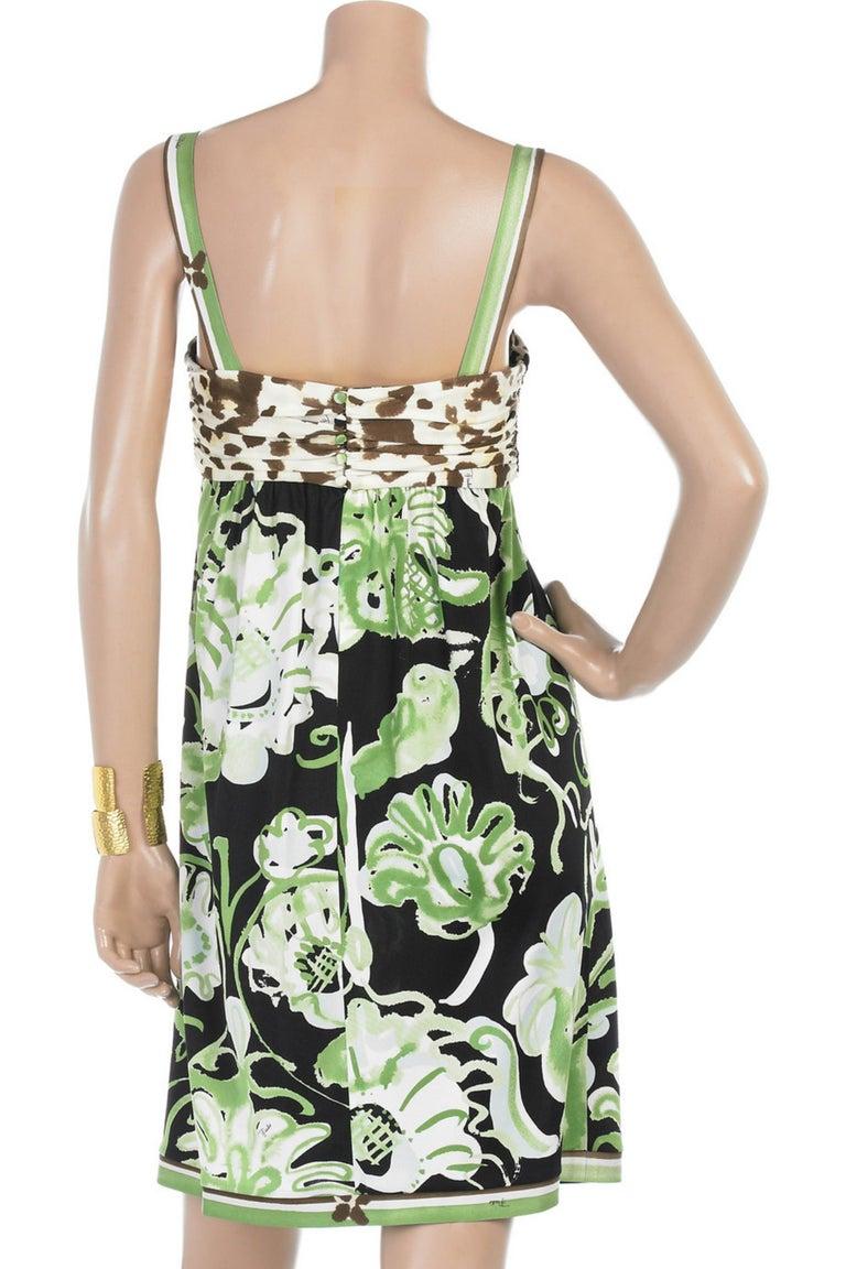 Emilio Pucci Silk Jersey Jungle Cheetah Animal Floral Botanical Print Dress For Sale 5