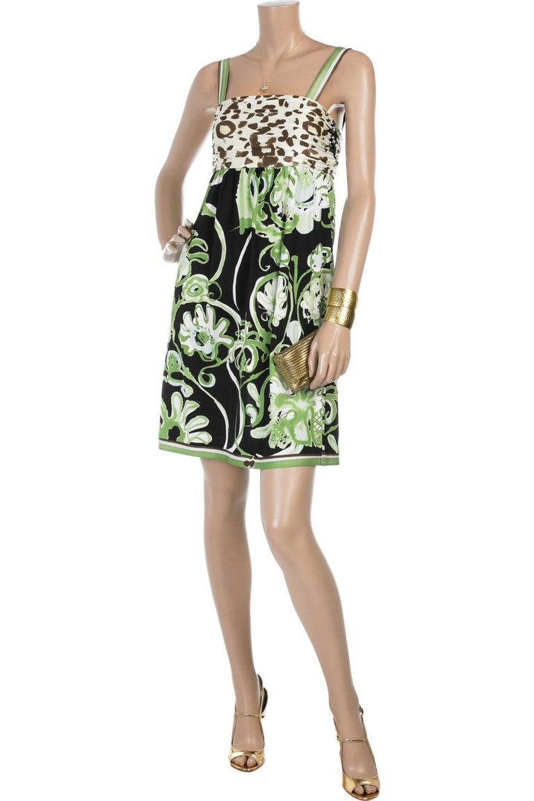 Emilio Pucci Silk Jersey Jungle Cheetah Animal Floral Botanical Print Dress For Sale 6