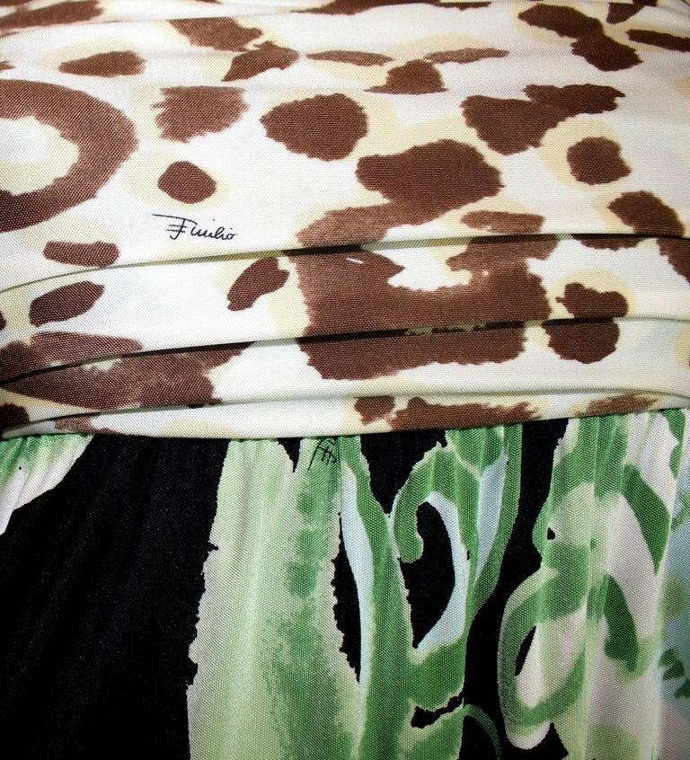 Beige Emilio Pucci Silk Jersey Jungle Cheetah Animal Floral Botanical Print Dress For Sale