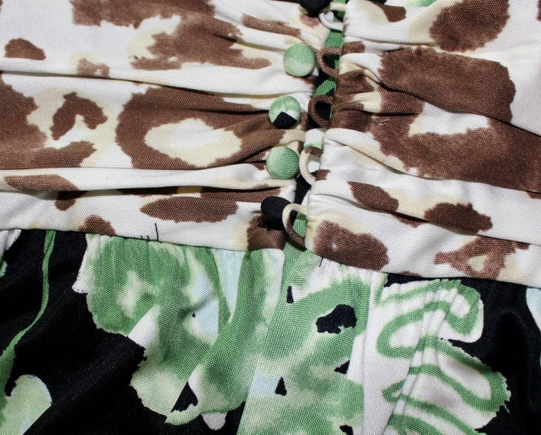Women's Emilio Pucci Silk Jersey Jungle Cheetah Animal Floral Botanical Print Dress For Sale