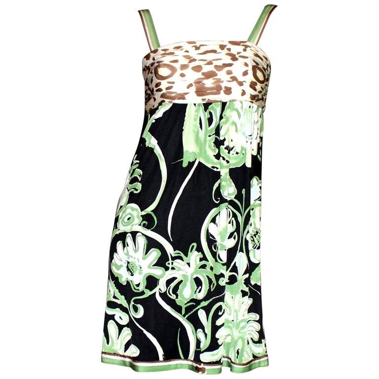 Emilio Pucci Silk Jersey Jungle Cheetah Animal Floral Botanical Print Dress For Sale 2