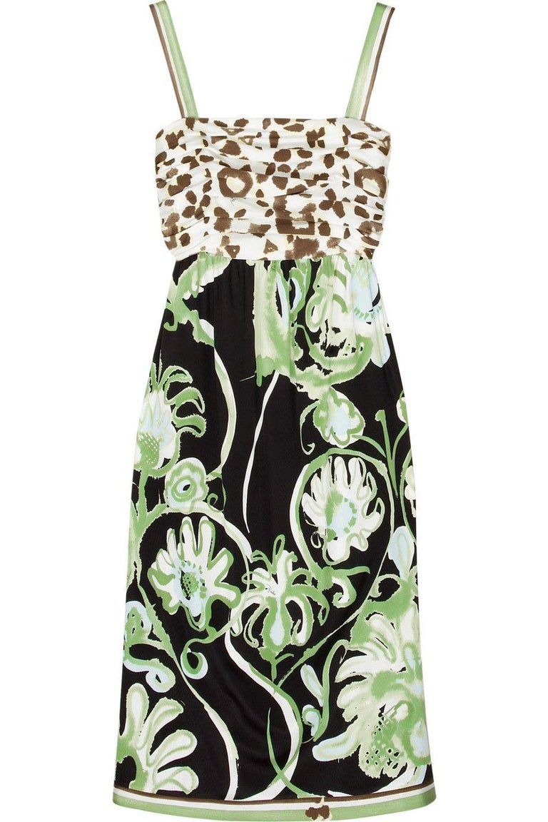 Emilio Pucci Silk Jersey Jungle Cheetah Animal Floral Botanical Print Dress For Sale 3