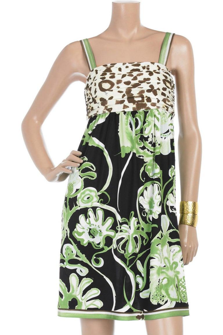Emilio Pucci Silk Jersey Jungle Cheetah Animal Floral Botanical Print Dress For Sale 4