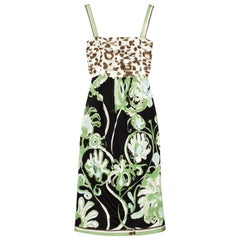 Emilio Pucci Silk Jersey Jungle Cheetah Animal Floral Botanical Print Dress