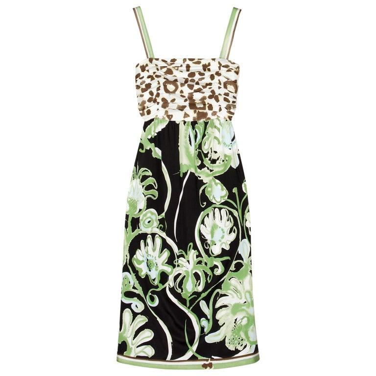 Emilio Pucci Silk Jersey Jungle Cheetah Animal Floral Botanical Print Dress For Sale