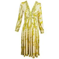 Emilio Pucci Silk jersey Print V Neck Dress 1970s