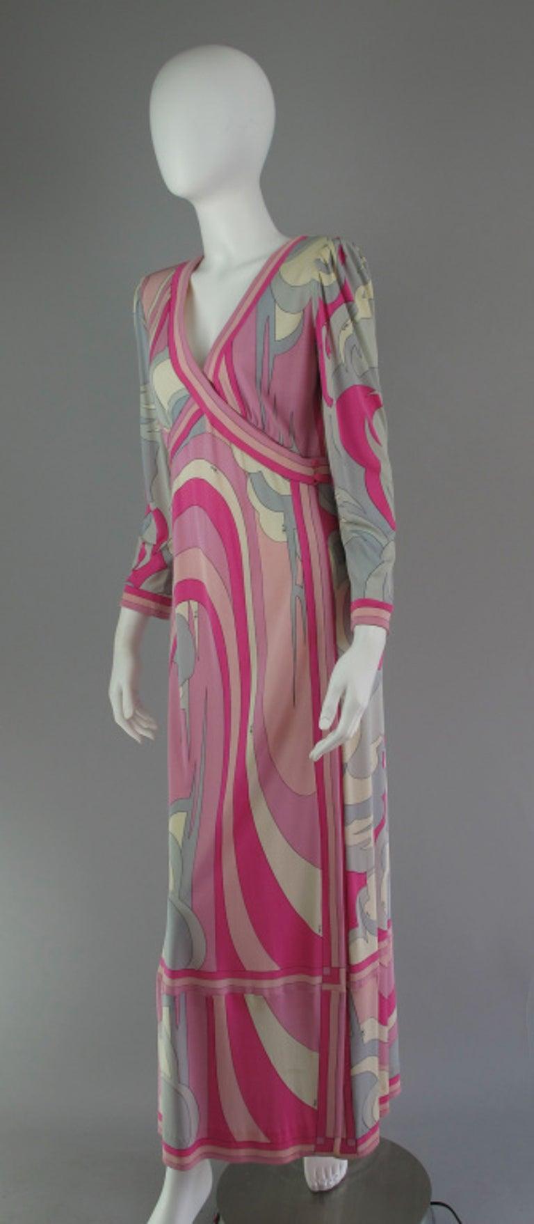 Emilio Pucci Silk Jersey V Plunge Neckline Maxi Dress