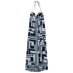 Emilio Pucci Silk Monochrome Maxi Dress M